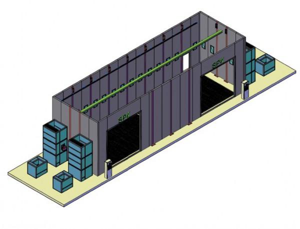 Окрасочно-сушильная камера уличного типа пристроенная к существующему зданию SPK-17.5.5