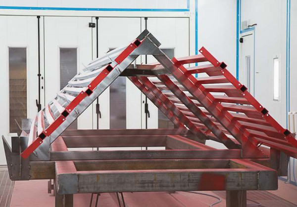 Окрасочно-сушильная камера для окраски металлоконструкций и ферм SPK 15.4.6. Покраска металлоконструкций в окрасочной камере.