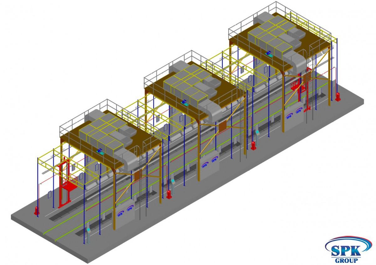 Проходной окрасочно-сушильный комплекс для трамваев  SPK-33.6.6