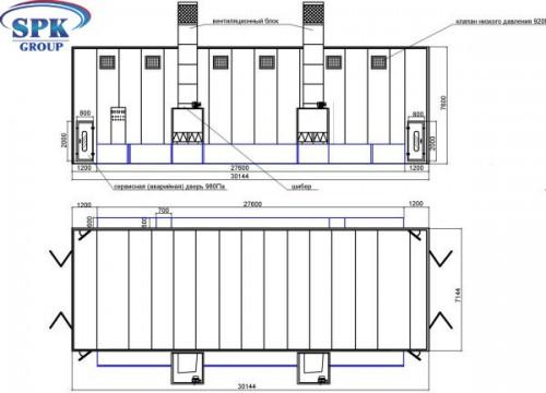 Подготовительная  камера для шлифовки и грунтовки вагонов и локомотивов SPK 30х7х7 Россия