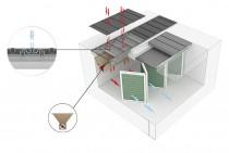 Лабиринтный пол состоит из грузонесущего П-образного профиля и ответного фильтрующего профиля. Для удобства обслуживания конструкция полностью разборная.