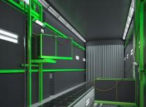 Рендер 3D лифта для дробеструйной камеры производства SPK