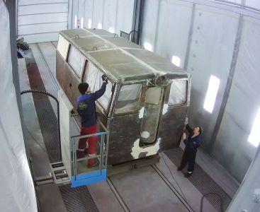 Реставрация железнодорожной техники в покрасочно-сушильной камере SPK в Екатеринбурге
