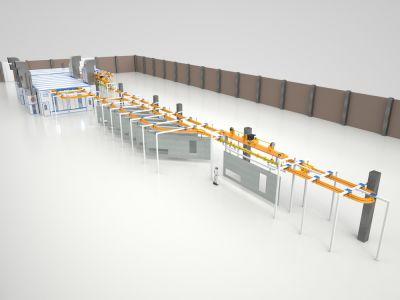 Проект линии окраски и сушки SPK для потоковой обработки изделий.