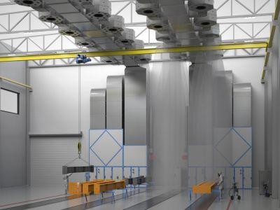 Для покраски строительных металлоконструкций в цехе предприятия оптимальным вариантом является использование зоны открытой окраски.
