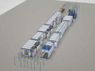 Комплекс механической и химической подготовки поверхности, окраски и дальнейшей сушки изделий