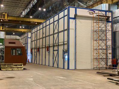 Завершен монтаж проходной окрасочно-сушильной камеры SPK с размерами 22х6,3х7 м