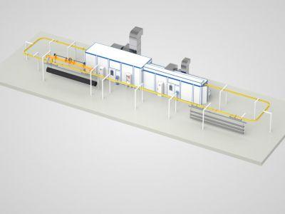 Окраска труб: проект Линии окраски проходного исполнения SPK P-18.3.3 с подвесной транспортной системой