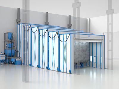 Работа камеры SPK для обработки судовых блоков с размерами 16х8х6 м