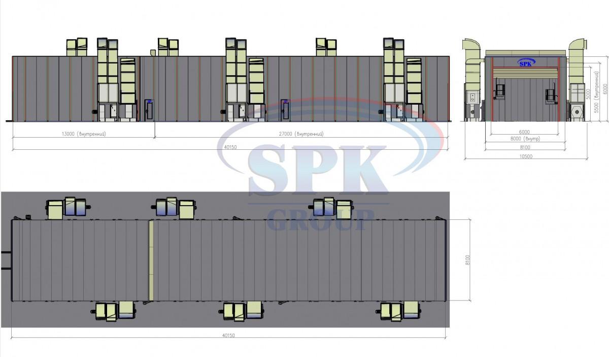 Двухсекционная покрасочно-сушильная камера для  жд транспорта SPK-40.8.6