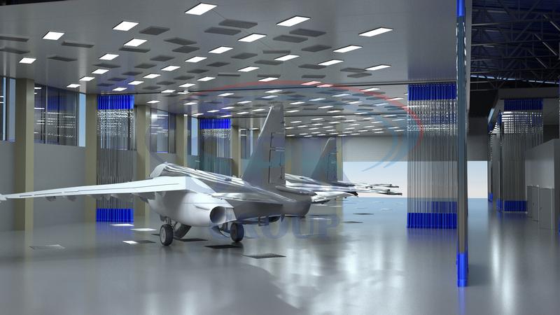 Оборудование SPK для участка окраски самолетов. Открытая зона подготовки SPK-25.18.8. 2.Камера окраски и сушки для авиатехники SPK-25.19.7. 3. Покрасочно-сушильная камера SPK-6.5.5