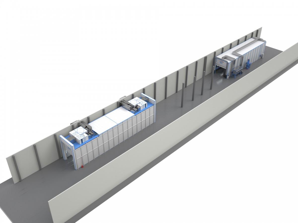 Комплекс покрасочной и дробеструйной камер SPK для железнодорожных вагонов