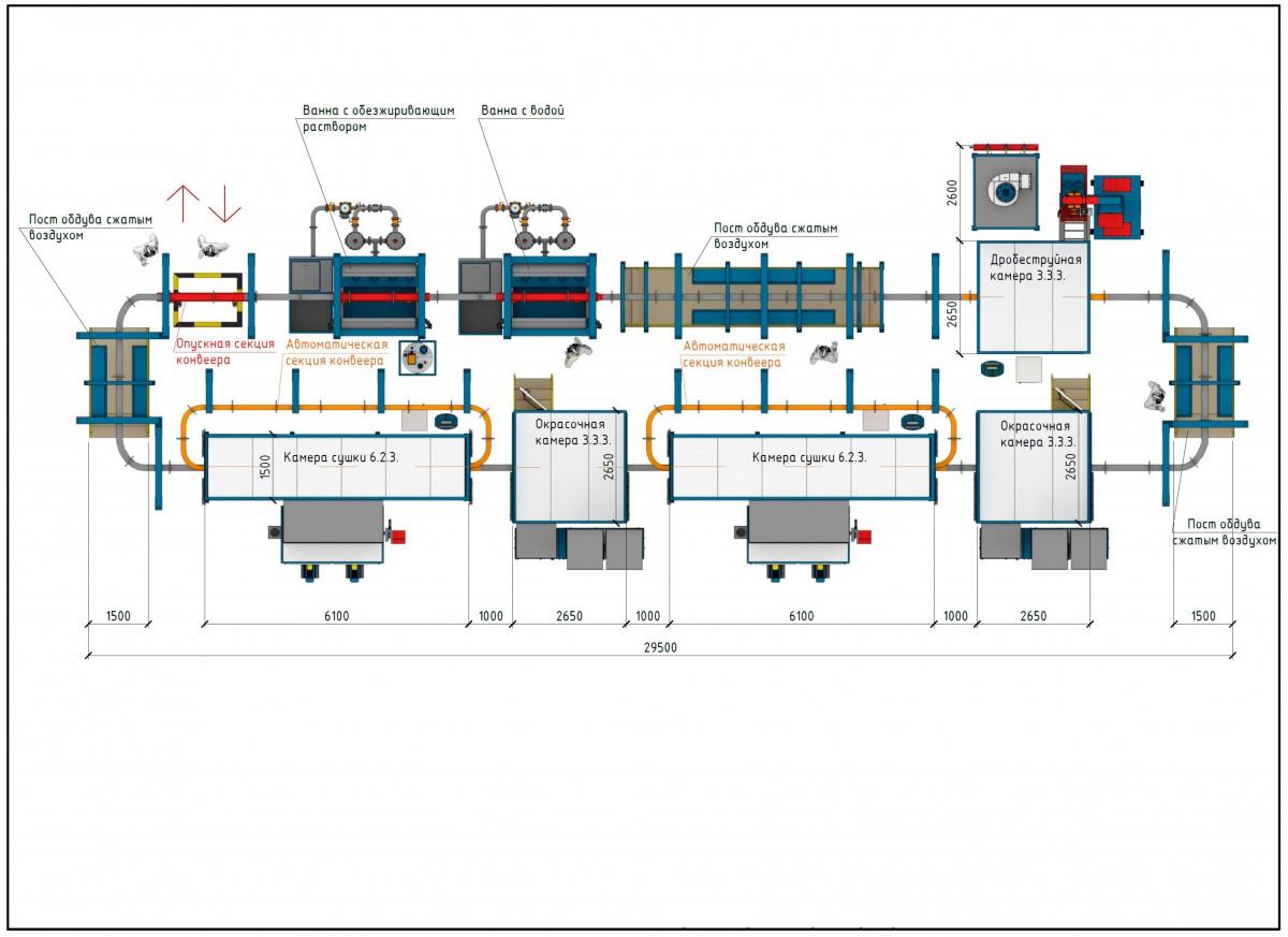 Линия подготовки и покраски спецтехники SPK