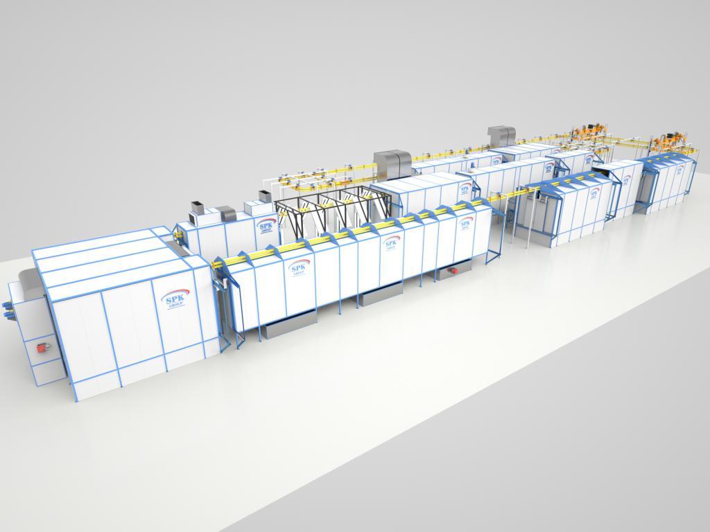 Линия окрашивания жидкими ЛКМ для сельскохозяйственной техники